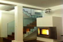 Balustrada schodowa wewnętrzna szklana samonośna