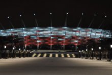 Stadion Narodowy Warszawa balustrady podświetlane