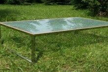 Stół ze stali nierdzewnej polerowanej, blat szklany